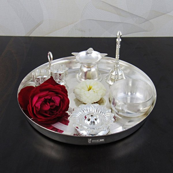 Pooja Thali set, pooja thali silver, pooja thali decoration, Pooja Thali for home, pooja thali set silver