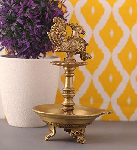 Brass peacock diya, brass peacock lamp, brass peacock diya stand, brass peacock oil lamp, brass diya for home, brass diya for temple, brass diya decoration, brass stand diya, brass diya stand, Brass Peacock Diya with Base, Diya for Pooja Room
