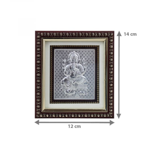 999 silver Ganesh frame, silver Ganesh photo frame, pure silver god photo frames, ganesha photo frame, silver ganesha frame