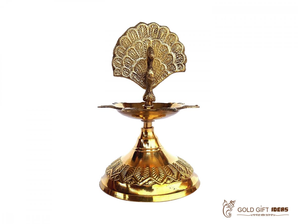 Brass peacock diya, brass peacock lamp, brass peacock diya stand, brass peacock oil lamp, brass diya for home, brass diya for temple, brass diya decoration, brass stand diya, brass diya stand, Brass Peacock Diya with Base, Diya for Pooja Room, Brass Step Peacock Diya