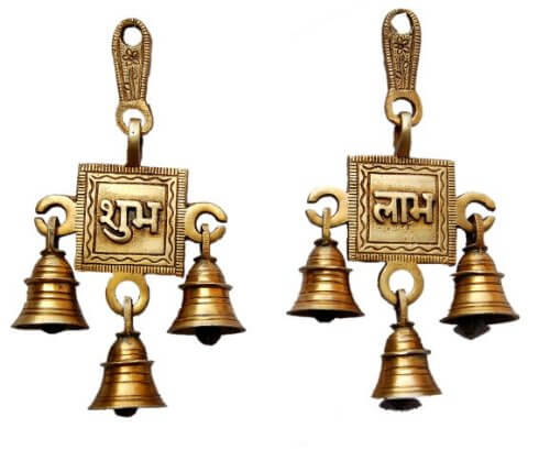 Brass Shubh Labh Wall Hanging Bells Brass Subh labh bells, brass bell for home, brass bell for temple, brass bell decoration, brass wall hanging bell, brass wall hanging diya, brass bell wall hanging, brass bell wall décor