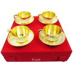 Cup saucer set, gold plated cup and saucer, gold plated tea cup set, brass cup and saucer, brass cup set
