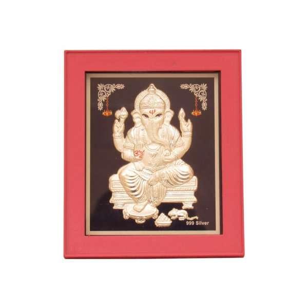 999 silver Ganesh frame, silver Ganesh photo frame, pure silver god photo frames, ganesha photo frame, silver ganesha frame