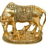 White metal cow and calf, cow and calf statue, cow and calf idol vastu, cow and calf statue in pooja room, white metal cow and calf statue, white metal small cow