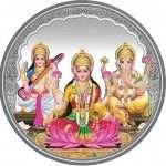 laxmi Ganesh saraswati Silver coin, Silver Lakshmi Ganesh Saraswati coin