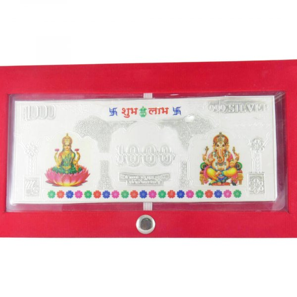 999 Silver Lakshmi Ganesha Currency Note for gift, pure silver pooja items, pure silver gift items, pure silver gift items for marriage, pure silver gift items for housewarming, pure silver gift articles