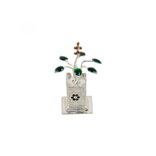 Pure silver Tulsi plant, silver tulsi kyaro, silver tulsi plant, pure silver tulsi plant return gifts, silver tulsi leaf, pure silver pooja items, pure silver gift items, pure silver gift items for marriage, pure silver gift items for housewarming, pure silver gift articles