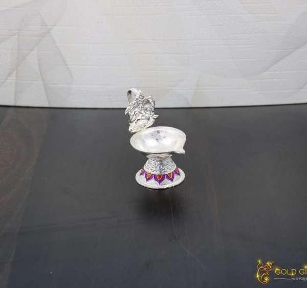 pure silver Ganesha diya, Pure silver diya, pure silver diya for pooja, pure silver diya set, pure silver diya stand, silver diya lamp,pure silver pooja items for gift, silver items for pooja room