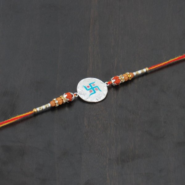 Pure silver rakhi bracelet for brother, silver rakhi for brother, silver rakhi for baby, silver rakhi for baby boy, silver rakhi for raksha bandhan, silver rakhi for child, silver rakhi for shrimant, fancy silver rakhi, silver rakhi for baby shower, silver rakhi for bahiya, Silver Rakhi with Thread