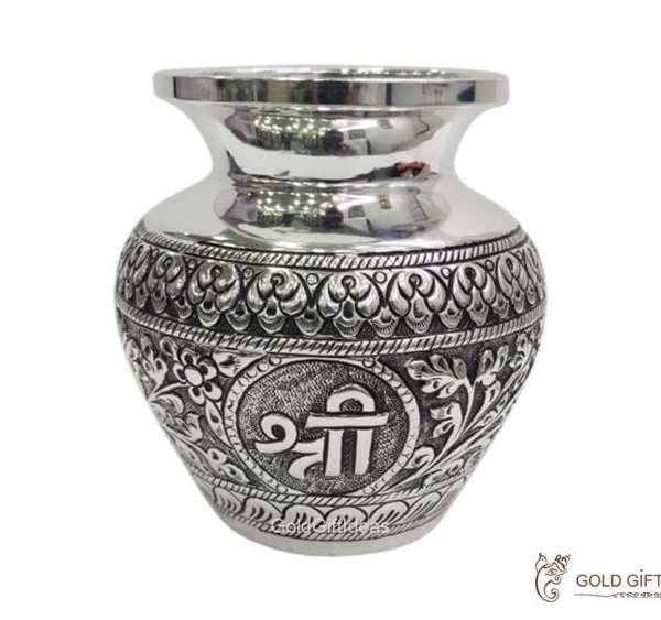 Silver kalash for pooja, pure silver kalash, pure silver kalasam, silver lota for pooja, pure silver pooja items, pure silver gift items, pure silver gift items for marriage, pure silver gift items for housewarming, pure silver gift articles