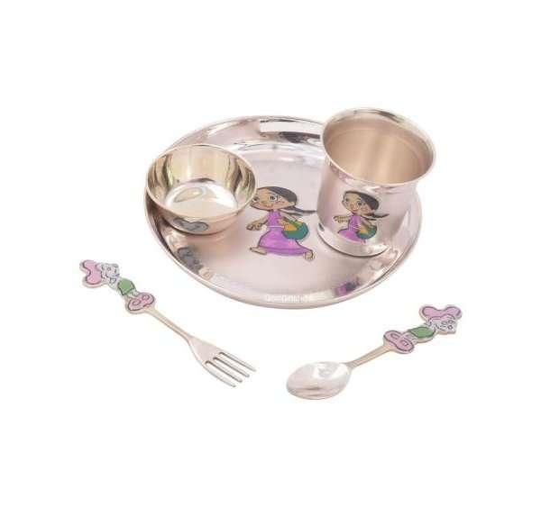 Pure silver dinner set, Pure silver dinner set for baby, Pure silver dinner plate, pure silver dining set, Pure silver dinnerware