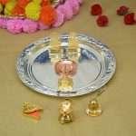 Pooja Thali set, pooja thali silver, pooja thali decoration, Pooja Thali for home, pooja thali set silver, pooja thali for wedding, pooja thali for mandir, pooja thali for Diwali, pooja thali for karva chauth, pooja thali gift set, pooja thali set gold plated pooja thali set for wedding silver thali set for pooja